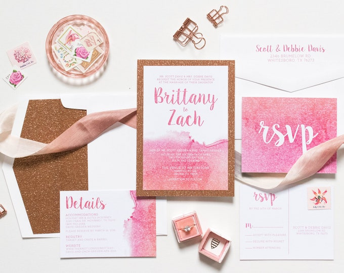 Glam Water Color Wedding Invitation with Rose Gold Glitter, Glitter Envelope Liner, RSVP and Details - Multiple Color Options Available!