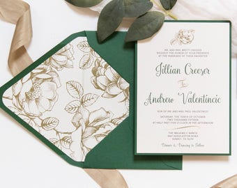 5x7 Metallic Gold Floral & Forest Green Wedding Invitation with Directions Insert, Postcard RSVP and Envelope Liner. Different Color Options