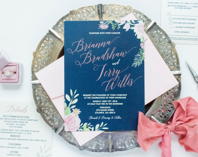 Navy Blue & Blush Rose Gold Floral Flowers Wedding Invitation with RSVP, Details and Envelope Liner - Other Colors Available