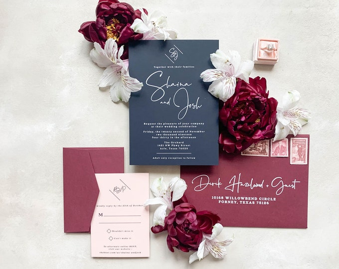 White Ink, Clean and Simple Monogram Wedding Invitation in Navy, Peachy Pink and Burgundy - Different Color Options