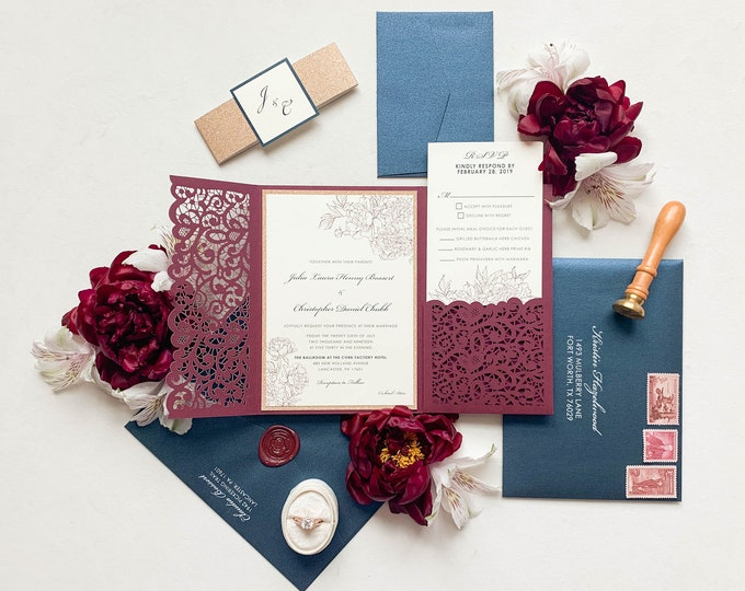 Lace Laser Cut Pocket in Navy Blue, Burgundy and Rose Gold Glitter — Formal and Elegant Wedding Invitation and Inserts — Different Colors!