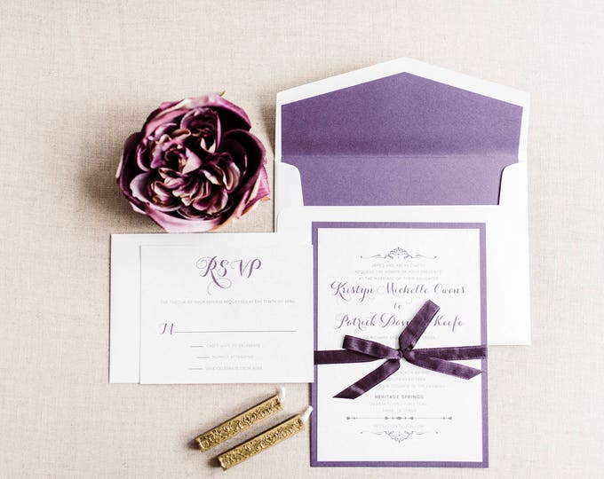 5x7 Purple & Lace Layered Wedding Invitation with RSVP and Envelope Liner, Different Colors Available