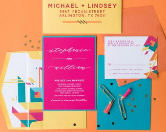 Bright Wedding Invitation, Modern Geometric Shapes with White Ink, Neon Colors, Hot Pink, Yellow, Turquoise, Yellow & Orange