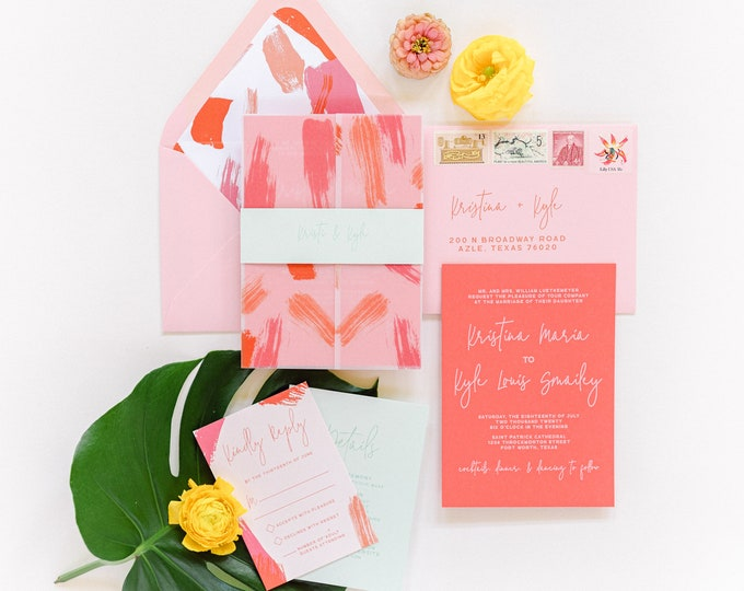 Brightly Colored Summer, Tropical Wedding Invitation with Paint Brush Vellum Wrap + Liner, Belly Band in Coral, Mint and Pink - Other Colors