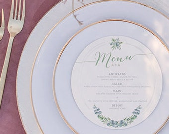 6x6 Greenery Garden Laurel Leaves and Grey Circular Circle Printed Wedding Menu