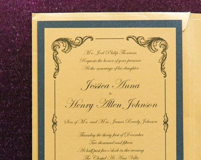 Intricate Scroll Metallic Gold & Black Elegant Vintage New Year's Eve Wedding Invitation with Insert, RSVP and Envelope and Address Printing