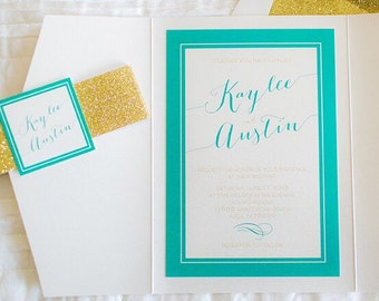5x7 Turquoise Gate Fold Wedding Invitation with Gold Glitter Enclosure Band and Monogram, RSVP Included, Different Colors Available