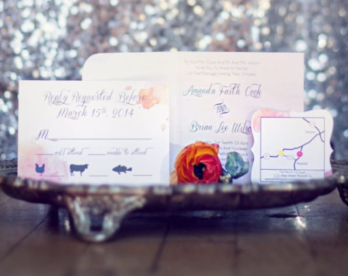 5x5  Water Color Die Cut Wedding Invitation Announcement, Postcard RSVPs, Accommodations & Reception/Direction Inserts- Envelopes Included