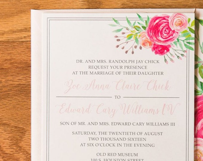Bright Pink Water Color Floral Wedding Invitation in Coral, Green and Blue, Calligraphy Script, Flowers in Envelope Liner & Address Printing
