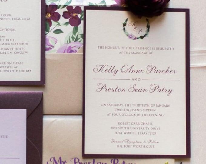 Monogram Floral Wreath, Formal Wedding Invitation in Shades of Purple, Plum, Lavender and Beige with Details, RSVP & Envelope Liner