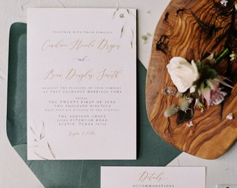 Romantic Greenery Wedding Invitation in Gold and Green with Calligraphy, Postcard RSVP and Envelope Guest Addressing - Other Colors