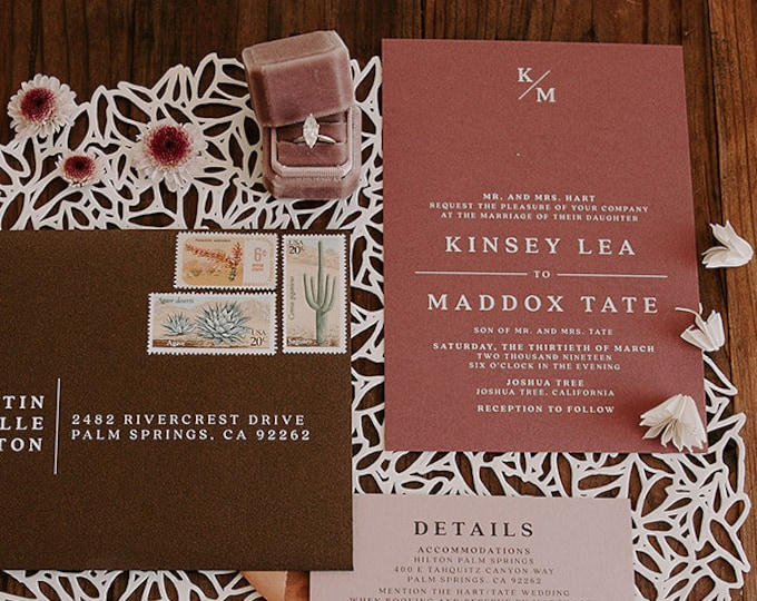 Simple Monogram Minimalist Wedding Invitation in Dusty Rose, Pale Blush Pink and Chocolate Brown - Different Color Options