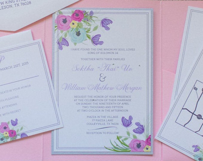 5x7 Pink Pocket Wedding Invitation with Pastel Spring Florals in Purple, Blue, and Yellow with Flower Envelope Liner & Guest Printing