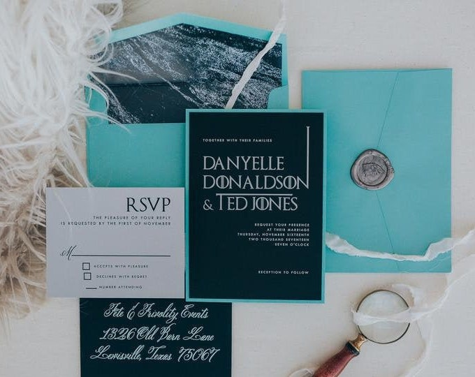 Game of Thrones Wedding Invitation in Teal Turquoise Blue, Metallic Silver & Black — Envelope Liner, RSVP and Guest Address Printing
