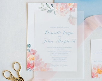 Vellum Semi Transparent Overlay Water Color Floral Wedding Invitation in Blush Pink, Light Blue with Inserts & Envelope Liner - Other Colors
