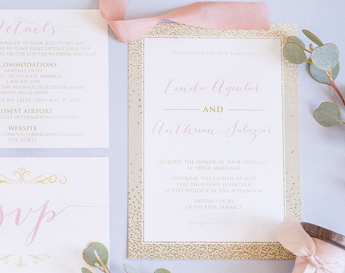 Bling Glam Girly Blush Pink and Gold Wedding Invitation Suite with Calligraphy Script, Details Insert & RSVP - Other Colors!