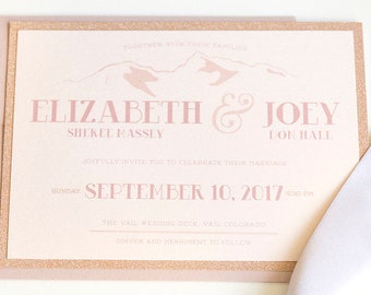 Glam Rose Gold Glitter & Blush Pink Colorado Mountain Ski Resort Wedding Invitation, RSVP, Directions and Map - Different Colors Available