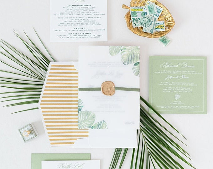 Tropical, Formal Letterpress Wedding Invitation with Palm Tree Leaves, Green Ribbon and Gold Wax Seal on Vellum Wrap & Guest Printing