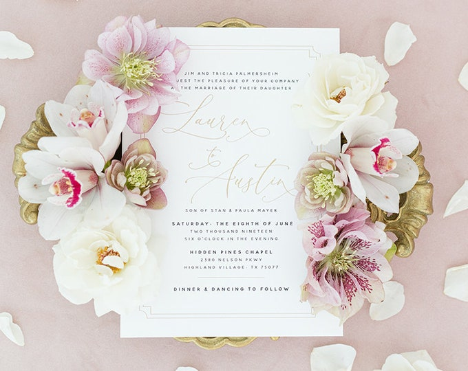 Clean & Modern Black, White and Gold Wedding Invitation, Belly Band, RSVP, Guest Address Printing - Other Colors Available