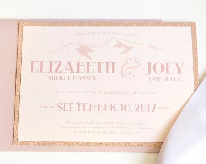 Layered Rose Gold Glitter & Blush Pink Colorado Mountain Ski Resort Wedding Invitation, RSVP, Directions/Map - Different Colors Available