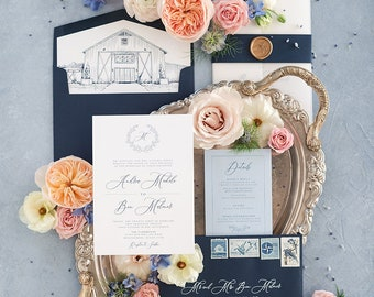 Vellum Wrapped Wedding Invitation, Navy Blue Band and Gold Wax Seal. Features Sketch Drawn Venue Illustration on Liner —Other Colors Avail