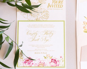 Garden Florals Wedding Invitation with Peonies, Ranaculous on a Wood Textured Gate Card in Blush Pink and Gold with RSVP and Envelope Liner