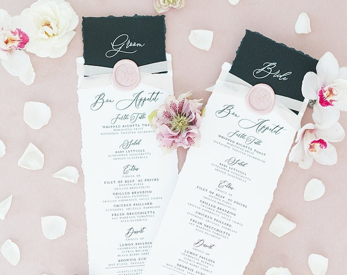 Place Card + Wedding Menu Combination in Black, White & Blush with Torn Edges, Calligraphy Script and Wax Seal, Printed Menu — Other Colors