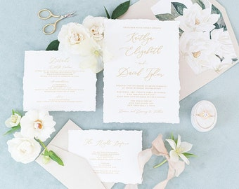 Clean & Simple White and Metallic Gold Wedding Invitation with Torn Edges, Water Magnolias, RSVP and Addressing —Other Colors Available