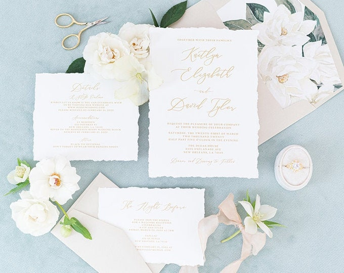 Clean & Simple White and Metallic Gold Wedding Invitation with Torn Edges, Water Magnolias, RSVP and Addressing — Other Colors Available