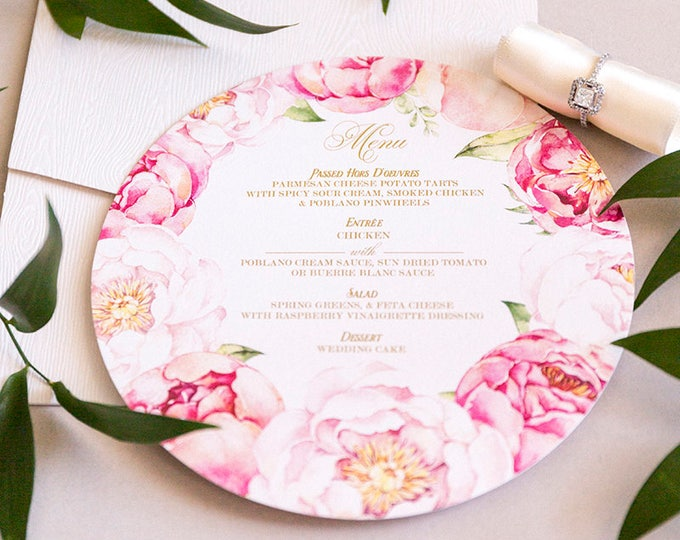 Circular Wedding Menu with Garden Flowers and Peonies in Blush Pink and Metallic Gold Ink, Circle Menu for Wedding or Bridal Shower
