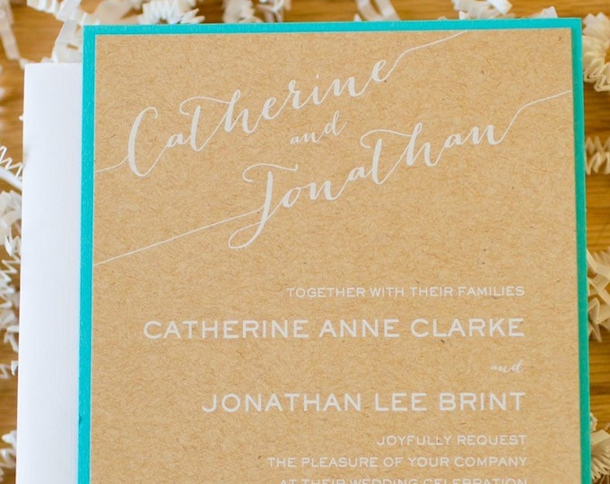 Rustic Wedding Invitation with Kraft Brown Paper and White Ink Printing on Turquoise Backing with RSVP & Custom Envelope Liner in Silver