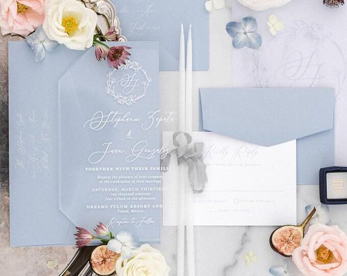 HALF DEPOSIT Acrylic Invitation, Inserts, Address Envelope Printing on Metallic White, Romantic Pink Calligraphy