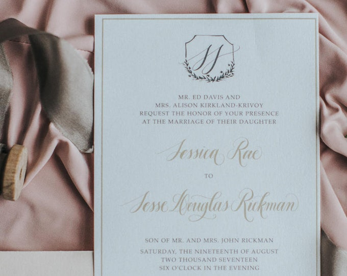 Pink Blush, Grey and Gold Simple Modern Calligraphy Hand Drawn Monogram Logo Branded Wedding Invitation, Details & RSVP - Other Colors
