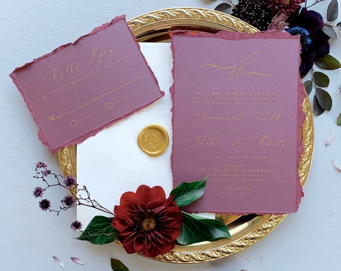 Ripped Edges Plum & Gold Modern Wedding Invitation in Purple with  Greenery Leaves Monogram  — Envelope Liner, RSVP and Guest Address