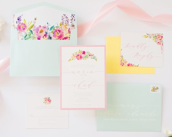 Spring Pastel Colors, Robin's Egg Blue, Blush Pink & Yellow Floral Spring Wedding Invitation with RSVP, Envelope Liner - Other Colors