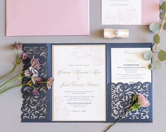 Elegant Formal Navy Blue, Gold Glitter and Blush Lace Laser Cut Pocket Wedding Invitation, Belly Band & Inserts — Different Colors Options