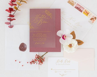 Metallic Gold Ink Wedding Invitation on See Through Film, Transparent Like Acrylic with Burgundy Backer and Blush —Other Colors Available