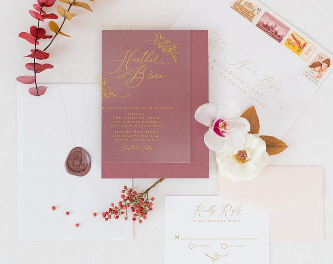 Metallic Gold Ink Wedding Invitation on See Through Film, Transparent Like Acrylic with Burgundy Backer and Blush — Other Colors Available