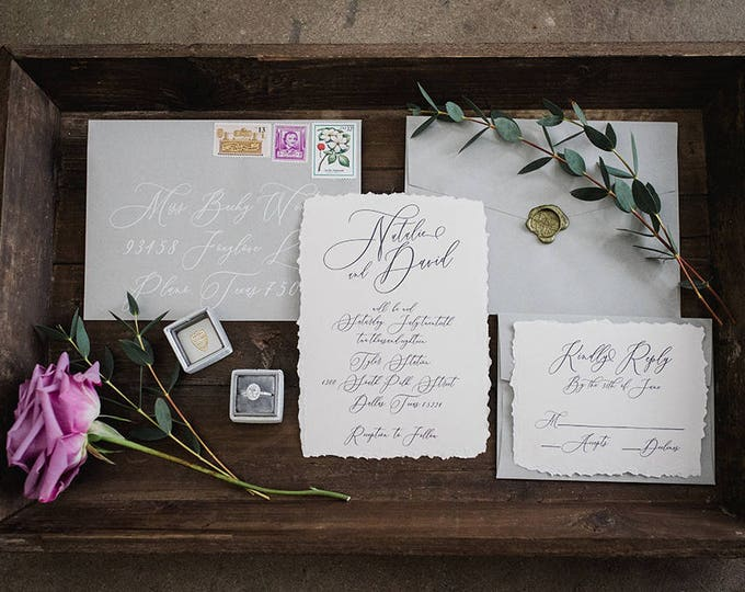 Dusty Purple & Grey Wedding Invitation with Modern Script Calligraphy, Envelope Liner, RSVP, and Address Printing - Other Colors Available