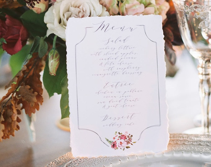 Blush Pink, Marsala Burgundy, Purple & Grey Calligraphy Monogram Formal Modern Printed Floral Flowers Wedding Menu
