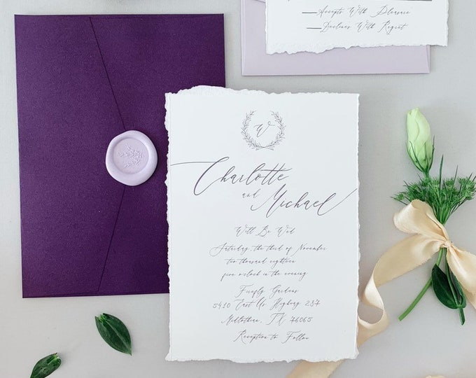 Deckled Torn Edges Purple & Lavender Calligraphy Greenery Wreath Monogram Wedding Invitation — Envelope Liner, RSVP and Address Printing