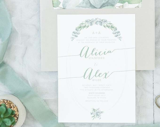 Garden Greenery Leaves Wedding Invitation in Green, Neutral and Beige with RSVP, Envelope Liner, Calligraphy Guest Address - Other Colors