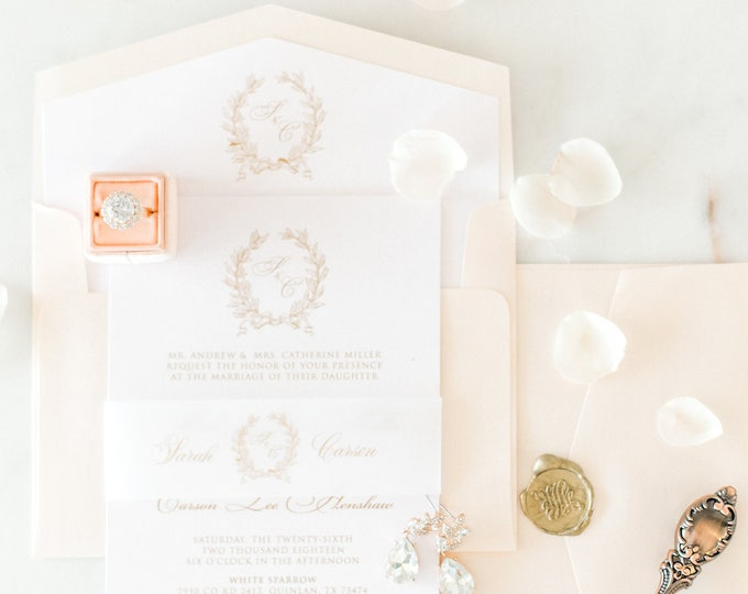 Soft Blush Pink & Monogram Traditional Formal Script Wedding Invitation in Gold and Blue with Vellum Band, Liner, and Guest Address Printing