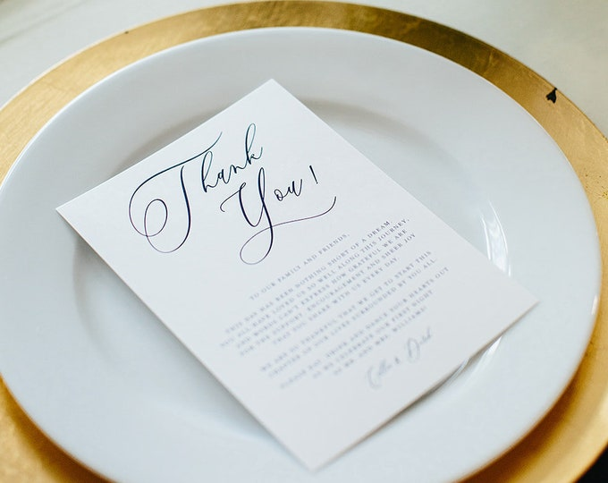 Modern Calligraphy Wedding Thank You for Place Setting in Blue and White — Different Colors Available!