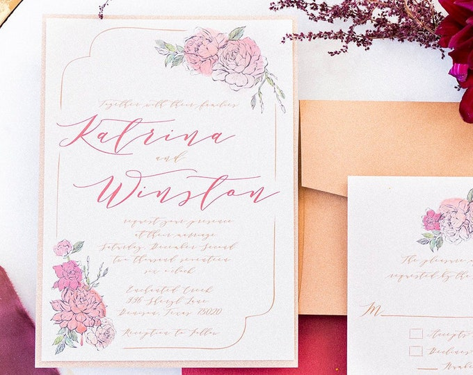Layered Floral Bling Rose Gold Glitter, Blush Pink & Red Burgundy Marsala Sangria Wine Water Color Floral Wedding Invitation Guest Printing