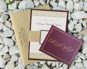Traditional Formal Layered Wedding Invitation in Burgundy, Marsala, Wine Red, Plum and Gold with Belly Band and Monogram - Multiple Colors!