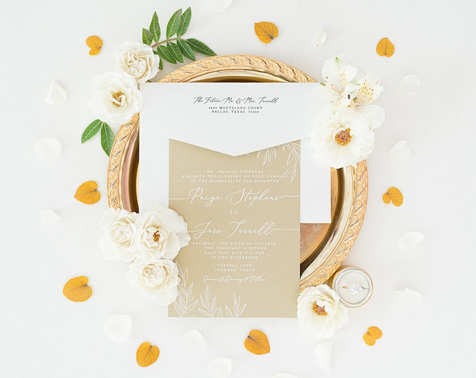 Wedding Invitation with Greenery Leaves in White Ink on Metallic Gold with Guest Addressing and Custom Map —Other Colors Available