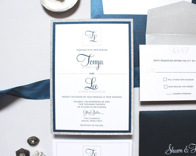 Layered Modern Monogram Formal Grey Gray Silver Glitter and Navy Blue Wedding Invitation, Inserts, RSVP & Liner - More Colors Available