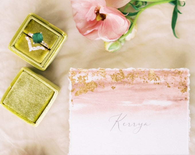 Gilded Copper Foil Place Cards with Bluh Water Color and Calligraphy Printed Wedding Menu