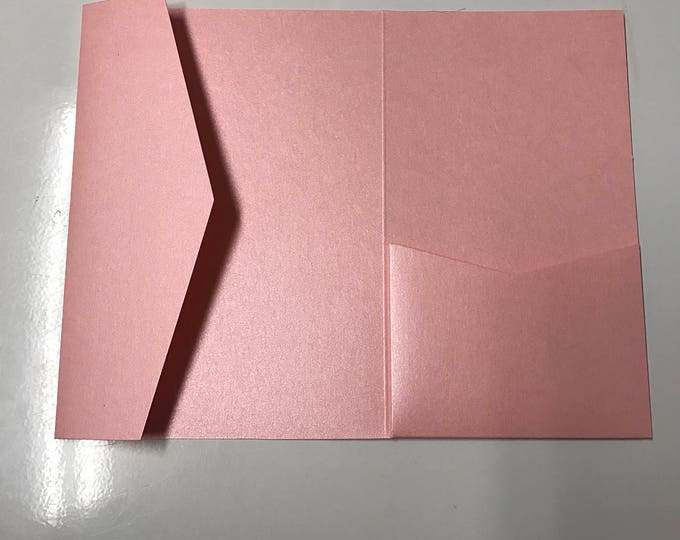 5x7 Pocket for Wedding Invitations in Metallic Light Pink, Rose, Blush